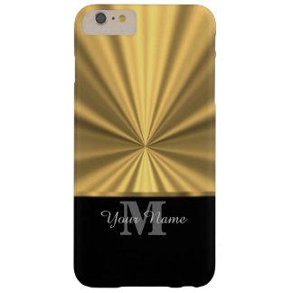 Negro y monograma metálico del oro falso funda de iPhone 6 plus barely there