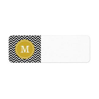 Negro y monograma moderno del personalizado de etiquetas de remite