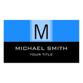 Negro y monograma profesional azul de Dodger Tarjetas De Visita