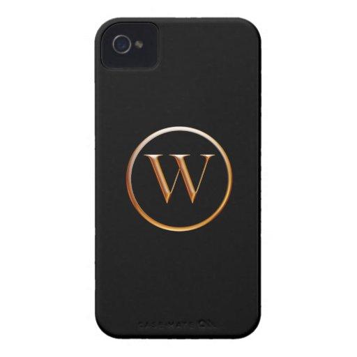 Negro y monograma W de Caslon del oro iPhone 4 Cárcasa