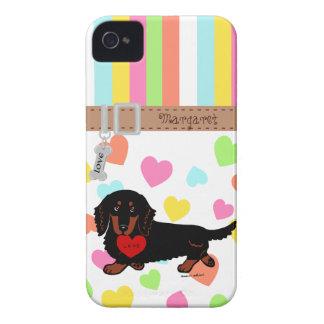 Negro y moreno de pelo largo personalizados del Da iPhone 4 Case-Mate Protectores