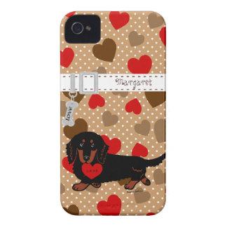 Negro y moreno de pelo largo personalizados del Da Case-Mate iPhone 4 Carcasas