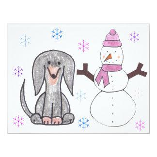 Negro y muñeco de nieve del Dachshund Invitación 10,8 X 13,9 Cm