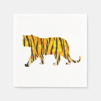 Negro y naranja del tigre de la silueta servilleta desechable