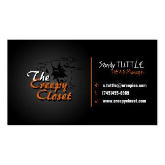 Negro y naranja espeluznantes tarjetas de visita