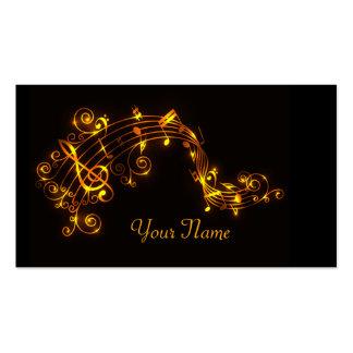 Negro y notas musicales que remolinan del oro tarjetas de visita