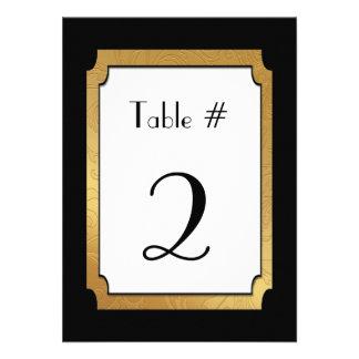 Negro y número de la tabla del boda del boda del o invitaciones personalizada