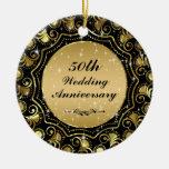 Negro y ornamento 2 del aniversario de boda del or ornamentos para reyes magos