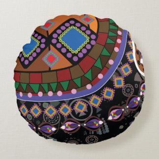 Negro y ornamento de Brown Cojín Redondo