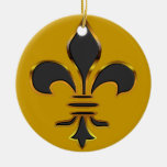 Negro y ornamento de la flor de lis del oro adorno navideño redondo de cerámica