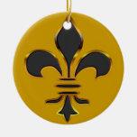 Negro y ornamento de la flor de lis del oro adorno redondo de cerámica