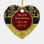 Negro y ornamento del aniversario de boda del oro  ornamento para arbol de navidad
