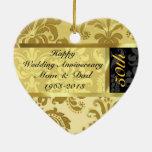 Negro y ornamento del aniversario de boda del oro  ornamento para reyes magos