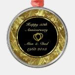 Negro y ornamento del aniversario de boda del oro  ornaments para arbol de navidad