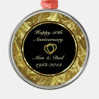 Negro y ornamento del aniversario de boda del oro adorno redondo plateado