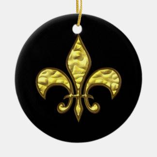 Negro y ornamento del navidad de la flor de lis adorno navideño redondo de cerámica
