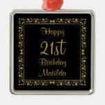 Negro y ornamento floral del cumpleaños del oro 21 ornamento para reyes magos