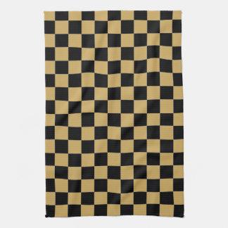 Negro y oro a cuadros toalla de cocina