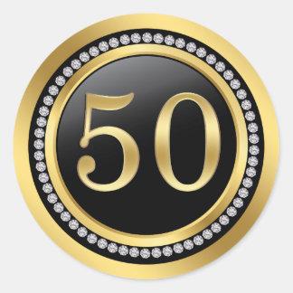 Negro y oro, aniversario de boda de los diamantes pegatina redonda