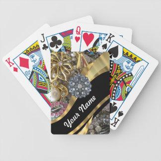 Negro y oro bling barajas de cartas