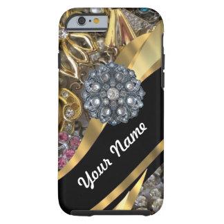 Negro y oro bling funda de iPhone 6 tough