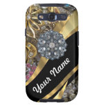 Negro y oro bling galaxy s3 fundas