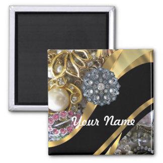 Negro y oro bling imán cuadrado