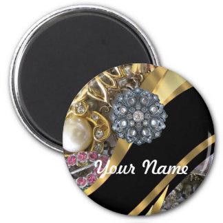 Negro y oro bling imán redondo 5 cm