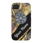 Negro y oro bling iPhone 4 carcasa