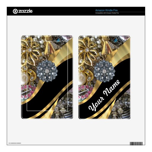 Negro y oro bling kindle fire pegatina skin