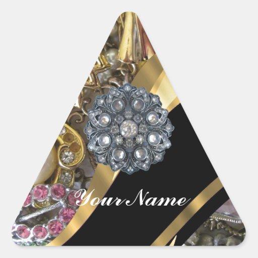 Negro y oro bling pegatina triangular