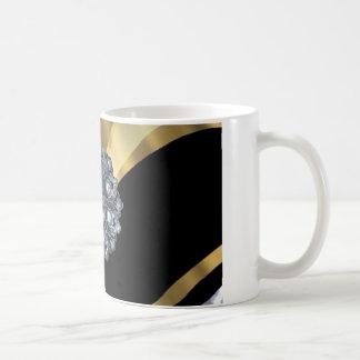 Negro y oro bling taza de café