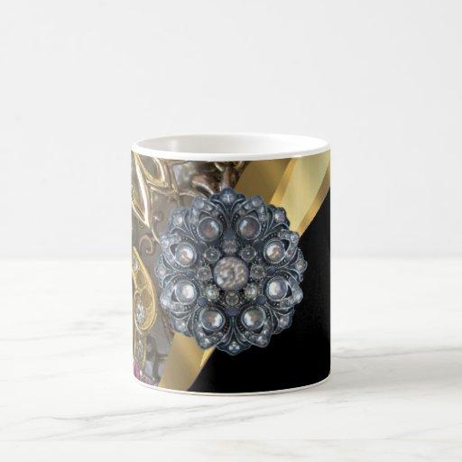 Negro y oro bling taza clásica