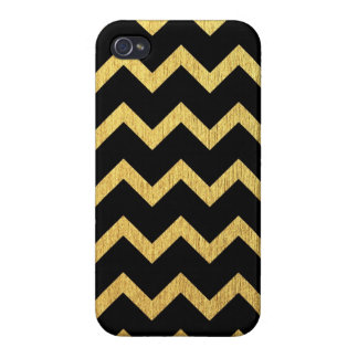 Negro y oro Chevron iPhone 4/4S Carcasa