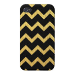 Negro y oro Chevron iPhone 4 Cárcasa