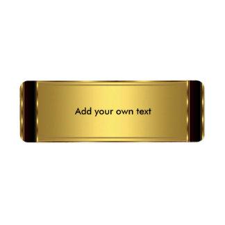 Negro y oro de la etiqueta autoadhesiva etiqueta de remite