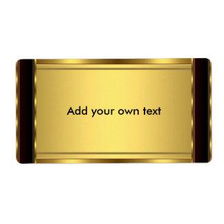 Negro y oro de la etiqueta autoadhesiva grandes etiquetas de envío