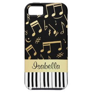 Negro y oro de las notas musicales y de las llaves iPhone 5 funda