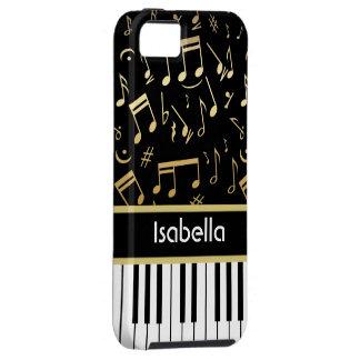 Negro y oro de las notas musicales y de las llaves iPhone 5 fundas