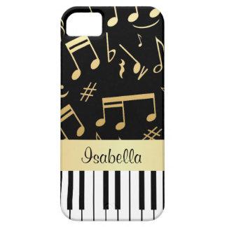 Negro y oro de las notas musicales y de las llaves funda para iPhone 5 barely there