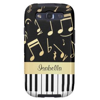 Negro y oro de las notas musicales y de las llaves galaxy s3 cárcasa