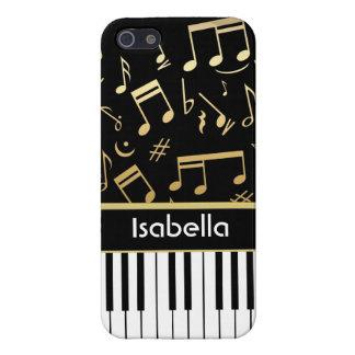 Negro y oro de las notas musicales y de las llaves iPhone 5 carcasa