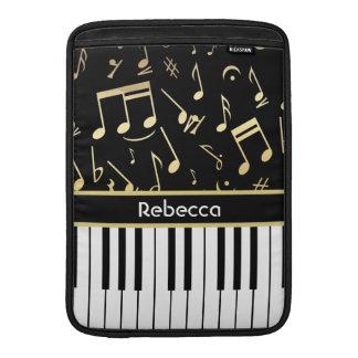 Negro y oro de las notas musicales y de las llaves fundas para macbook air
