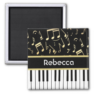 Negro y oro de las notas musicales y de las llaves iman de nevera