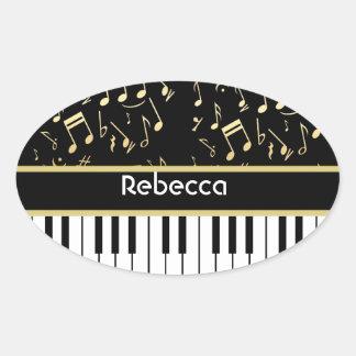 Negro y oro de las notas musicales y de las llaves pegatinas oval personalizadas