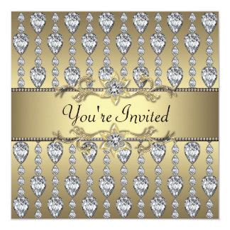 """Negro y oro de los diamantes todo el fiesta invitación 5.25"""" x 5.25"""""""