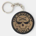 Negro y oro del cráneo del explorador de Cav Llaveros