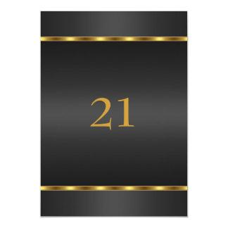 Negro y oro del encanto del cumpleaños de la invitaciones personales
