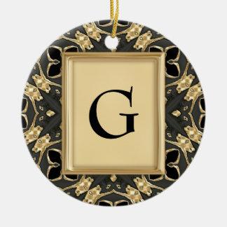 Negro y oro del terciopelo adorno redondo de cerámica