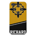 Negro y oro i de la flor de lis iPhone 4 protector